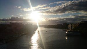 Från Liljeholmsbron i går kväll